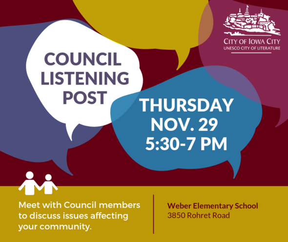 A graphic promoting the next Council Listening Post