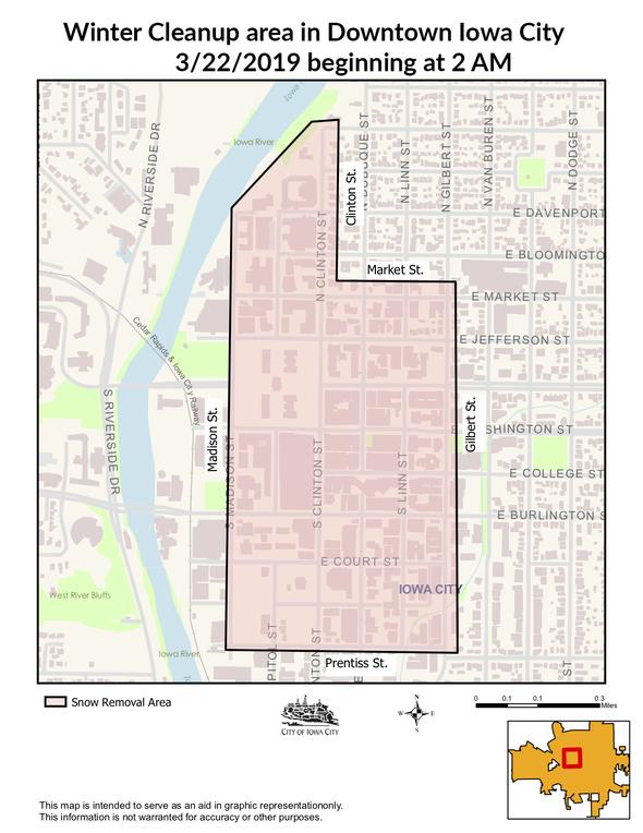 Map of downtown Iowa City tow-away zone.