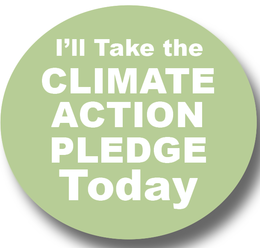 """Button reading """"I'll Take the Climate Action Pledge Today"""""""