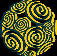 A graphic showing a multi-color globe