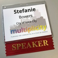 A picture of Stefanie Bowers' name card from the planning conference.