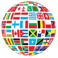 A globe of flags from different nations.