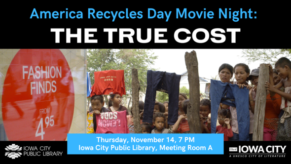"""The poster for """"The True Cost"""" documentary is shown."""