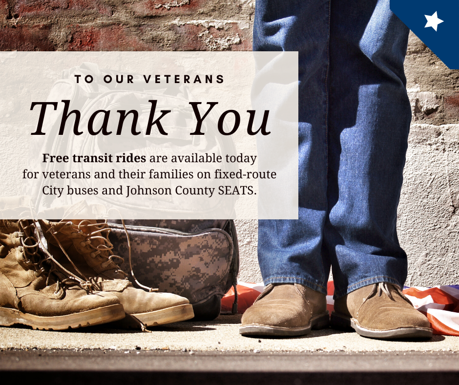 Graphic saying that veterans get free transit rides on Veterans Day in Iowa City.