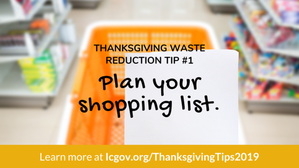 A graphic with a tip on how to reduce waste on Thanksgiving.