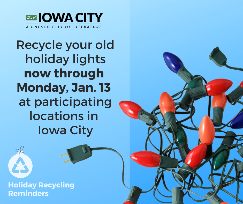 Graphic detailing how to recycle holiday lights.