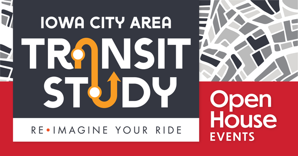 A graphic promoting Transit Study events in the Iowa City area.