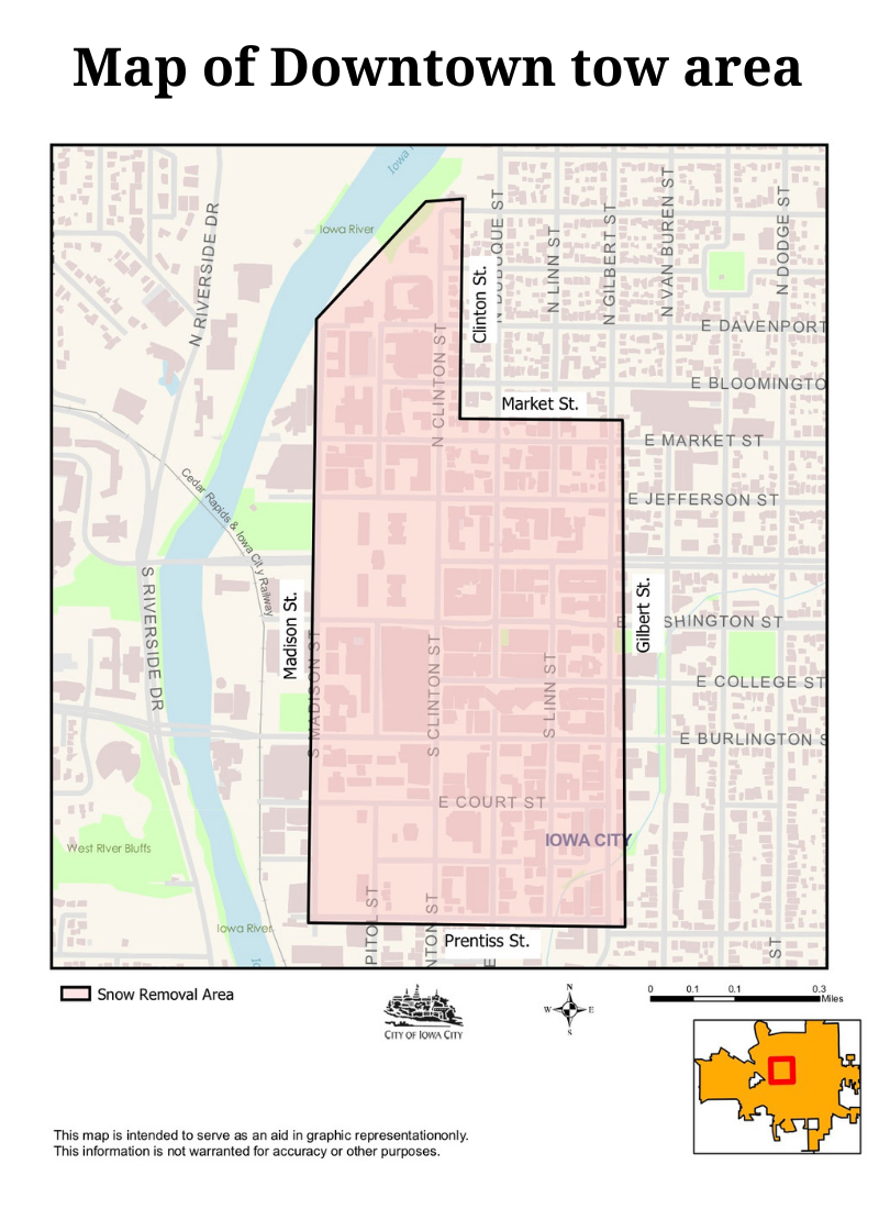 Map of Downtown Iowa City tow area.