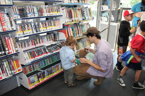 Parent and Child on Bookmobile