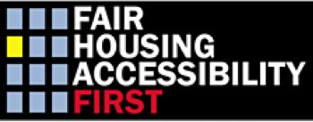 "A graphic that says ""fair housing accessibility first.'"