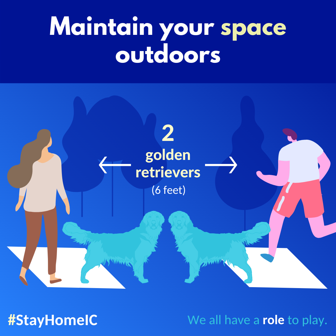 A social graphic telling people to stay at least six feet away while outdoors.