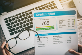 A credit score sheet is shown.
