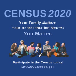 A graphic promoting the 2020 Census is shown.