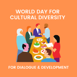 A graphic promoting World Day for Cultural Diversity.