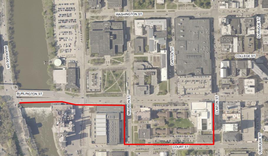 A pedestrian detour is shown for Burlington Street.
