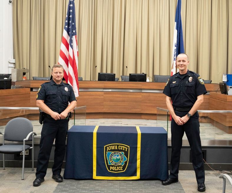 Sgt. Andy Rich and Lt. Jorey Bailey were promoted during a ceremony at City Hall on Monday, August 2, 2020