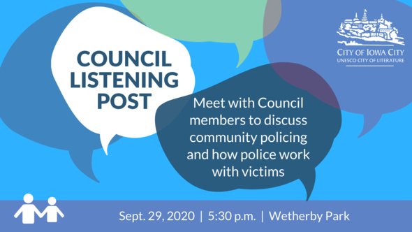 Graphic for City Council Listening Post on Sept. 29, 2020 on community policing.