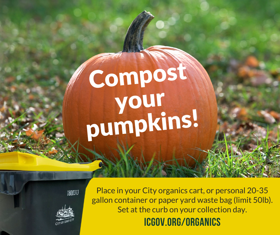 A graphic saying residents should compost their pumpkins.