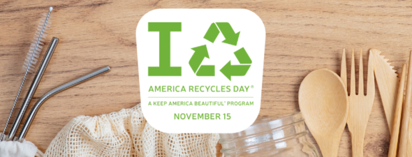 A banner image for American Recycles Day, Sunday, Nov. 15, 2020.