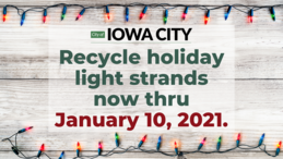 An image promoting recycling of holiday lights in Iowa City and Coralville.