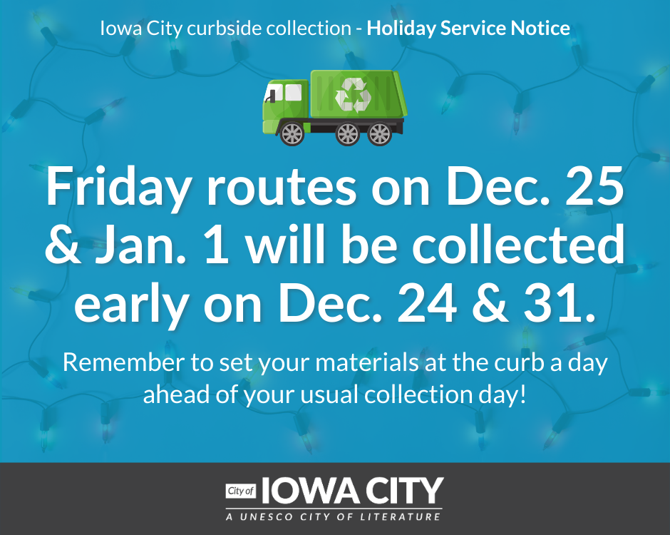 Garbage collection dates for 2020 winter holidays.