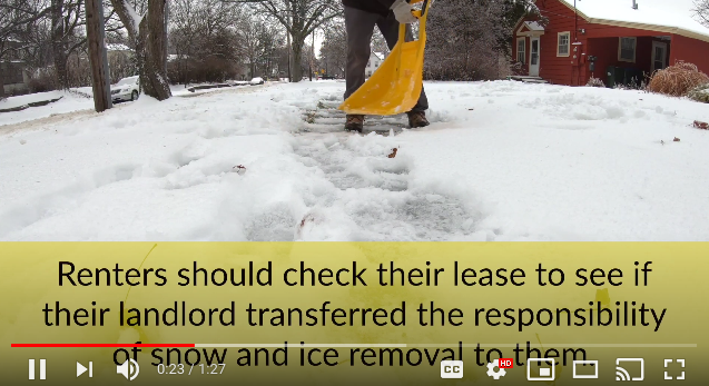 A screenshot of a video about City snow shoveling rules.