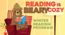 Bear in hat and mittens sitting in a chair, reading.