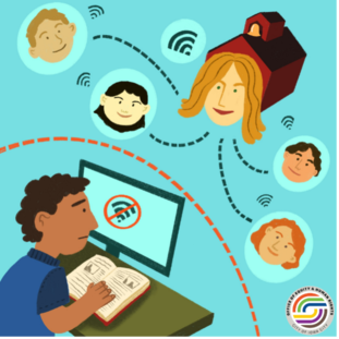 An illustration showing a child with no internet being disconnected to his fellow students and teach who do have internet.