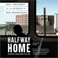 """The cover of the book """"Halfway Home"""" shows a child looking out the window of a bus."""