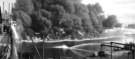 An image of the Cuyahoga River on fire in 1952.
