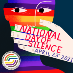 An illustration of a hand covering a mouth is shown for National Day of Silence.
