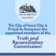 """A graphic with text reading """"The City is proud to announce the appointed members of the Truth & Reconciliation Commission!"""""""