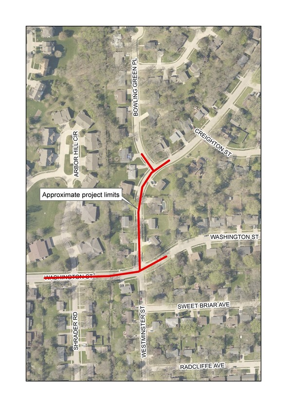 A map of the North Westminster Storm Sewer Upgrades locations.