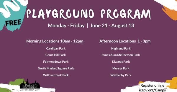 Summer Playgound Program Schedule