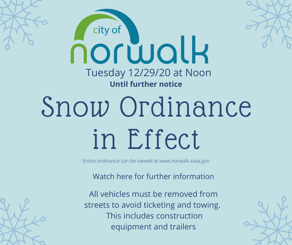 Snow Ordinance in Effect Tuesday 12/29/20 at Noon