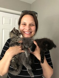 Volunteer Foster Shelly with 3 kittens