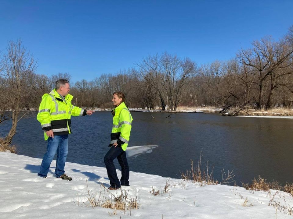 Jim Zay monitoring flood levels