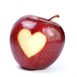 Apple with a heart-shaped bite