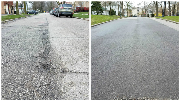 Pavement patching before and after photos