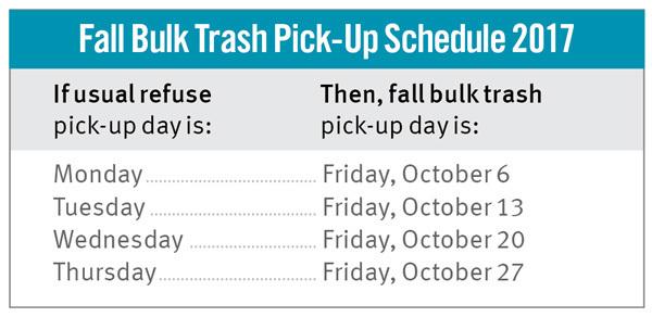 Fall 2017 bulk trash schedule