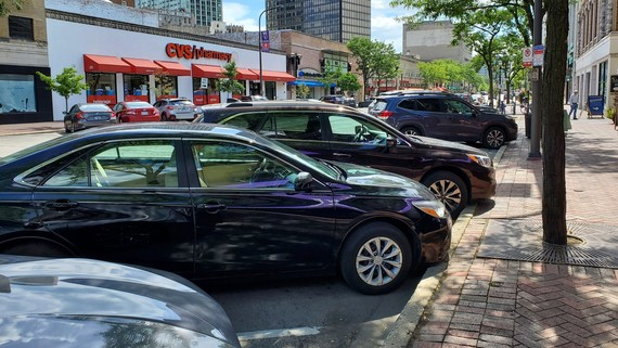 Cars parked downtown