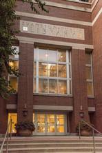 Evanston Public Library entrance in evening