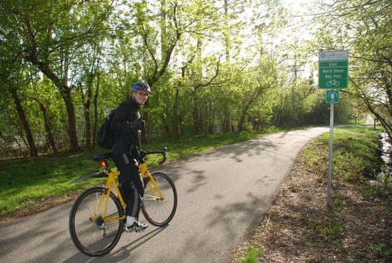 Bike Commuter on North Shore Bike Path