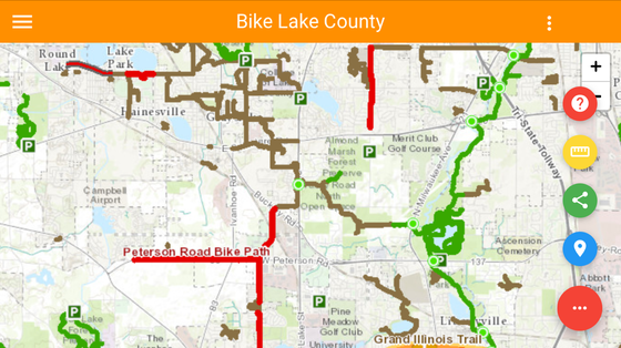 mobile view of bike lake county