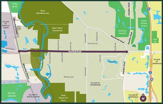 Deerfield Road Corridor study area map