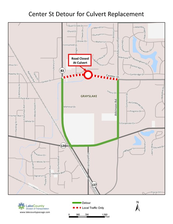 Center Street Closure for Culvert Replacement Aug. 2017