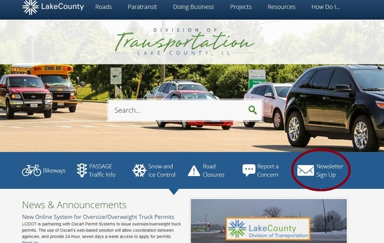 News Sign Up on LCDOT website