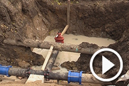 Public Works water main repair play button