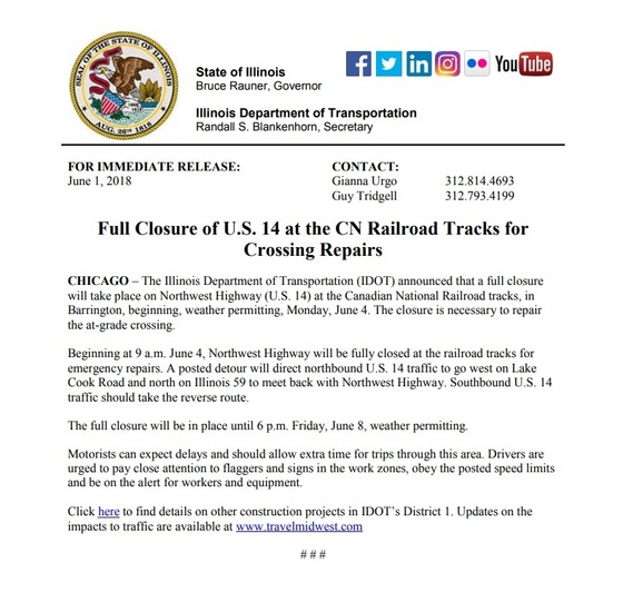 US 14 at CNRR closed for crossing repairs