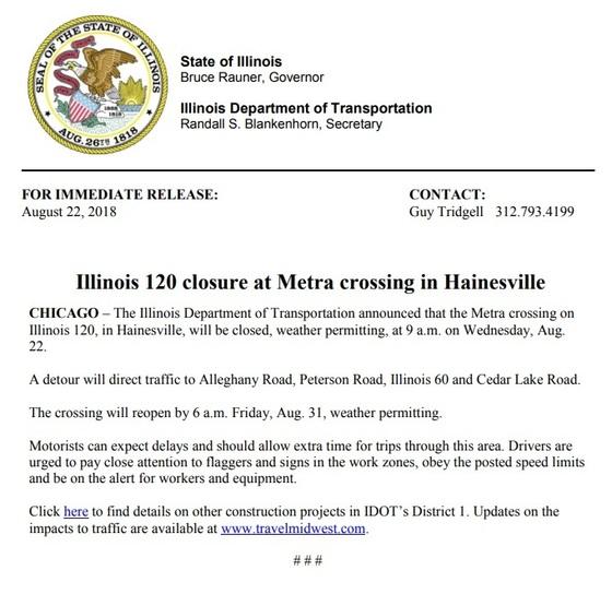 IDOT Road Closure Notice: IL 120 closure at Metra crossing